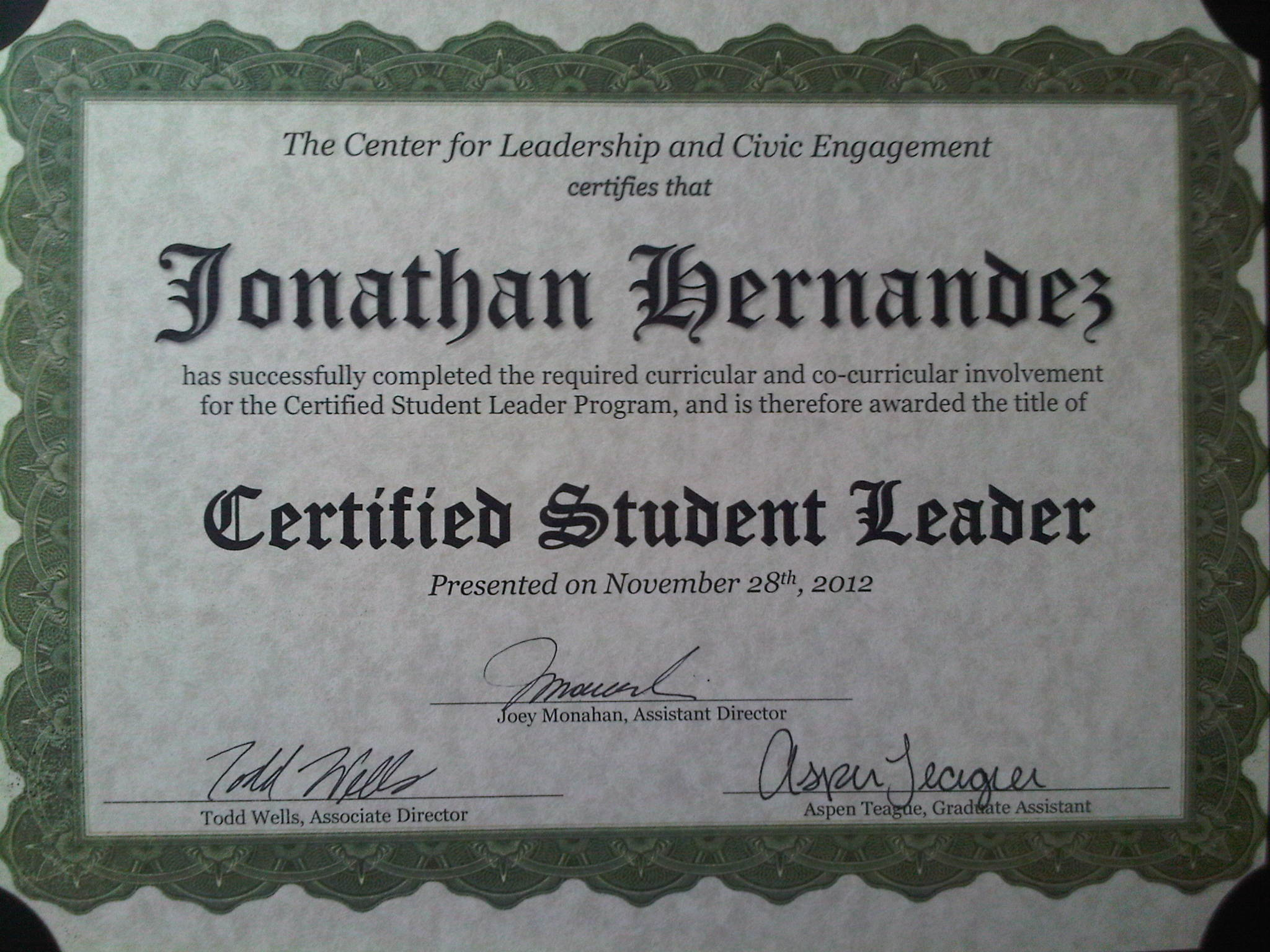 Usfs clce certificate in student leadership days i enjoy and love usfs clce certificate in student leadership 1betcityfo Image collections
